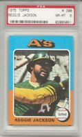 1975 TOPPS #300 REGGIE JACKSON, PSA 8 NM-MT, HOF, OAKLAND A'S, MR. OCTOBER  L@@K