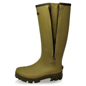 Dirt Boot Neoprene lined Gamekeeper Wellington Muck Field Boots Zipper Khaki