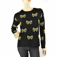 New Large Bow Pattern Sweater RAMPAGE Lurex Soft Knit Pullover Womens Black