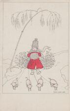MELA KÖHLER ORIGINAL POSTKARTE, Motiv: Kind mit 4 Ferkel