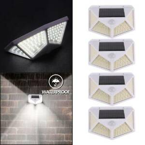 100 LED Outdoor Garden Solar Powered Security Wall Light PIR Motion Sensor 4PCS