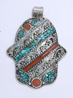 Tibetan Asian Jewelry Sterling Silver Ethnic Pendant Tribal  Turquoise Coral K6