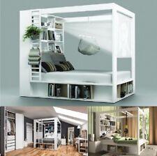 Himmelbett Doppelbett Ehebett CALGARY weiß Bett mit Regal Bettkasten Lattenrost