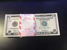 1 - 2003 Five Dollar Star Bill Uncirculated Consecutive Star Note BEP Wrap $5