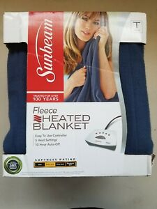 Sunbeam Heated Electric Blanket Royal Dreams Quilted Fleece Full Newport Blue