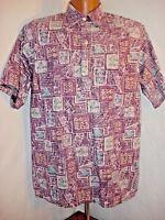 Go Barefoot Reverse Print Hawaiian Shirt Flying Fish Size L USA Burgundy Blue