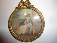 Médaillon Miniature 18 e siècle - Peinture sur soie.
