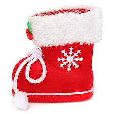 Christmas Xmas Flocking Red Boots Socks Small Candy Gift Bag for Kids Winter