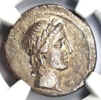 Octavian Augustus AR Silver Denarius Apollo Coin 30-29 BC - NGC Choice XF (EF)