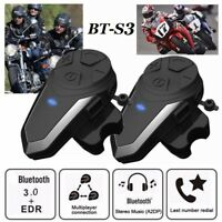 2x 1000m Motorcycle Bluetooth Intercom BT-S3 Waterproof Interphone For 2 Rides