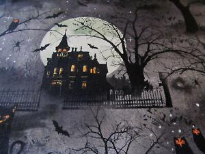 Bäume Wald Mond Gothic Halloween  Kürbis Katze    Baumwolle  50x110  cm