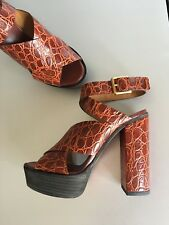 Chloé brown animal print textured leather platform sandals 37 NWB $1045