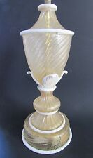 """Antique Barovier & Toso Murano Lamp Gold Flecked Urn Porcelain Leaves & Trim 14"""""""