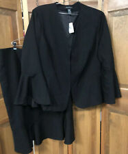 Ashley Stewart 2PC Plus Size 30 Solid Black Skirt Suit Ruffle New Bell Sleeve