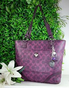 COACH 18394 purple signature heritage shoulder tote purse handbag satchel EUC