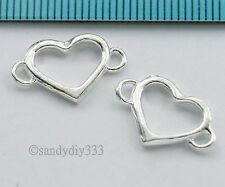 2x BRIGHT STERLING SILVER HEART LINK CONNECTOR SPACER BEADS 16.7mm #820