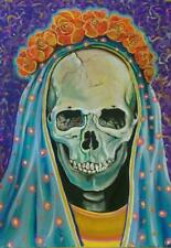 La Santa Muerte Original Signed Painting Day Of The Dead Holy Death Folklore Art