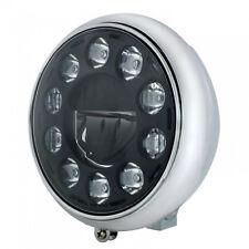 Chrome HD Heritage, Fat Boy, Softail Grooved Headlight w/ Blackout 11 LED Bulb
