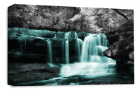 Le Reve Waterfall Landscape Wall Art Teal Grey White Canvas Forrest Picture