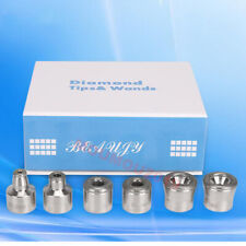 6pc Replacement Diamond Microdermabrasion Dermabrasion Head Tips Stainless Steel