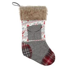 "Reindeer Knit Patchwork w/ pocket Christmas Stocking w/ faux fur cuff 19"""