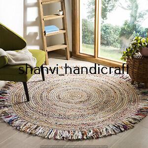Braided Bohemian Jute & Cotton Tassel Round 7 Feet Floor Carpet Area Rugs Carpet