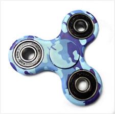 Camoflauge Hand Spinner Tri Fidget Ceramic Ball Desk Toy Kids or Adult Camo Blue