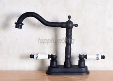 Black Oil Rubbed Brass 2 Hole Mount Kitchen Sink Faucet Ceramic Handle tnf152