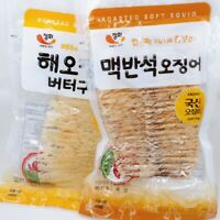 Dried and Roasted Squid Snack - Korean Squid Jerky - Various Flavors - 4 packs