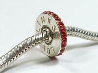 GENUINE LOVELINKS 925 SILVER RED CZ LOGO SPACER CHARM BEAD BRACELET