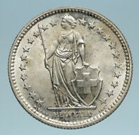 1957 SWITZERLAND - SILVER 2 Francs Coin HELVETIA Symbolizes SWISS Nation i83175