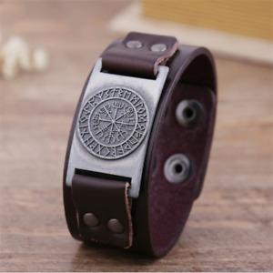 Viking Compass Pendants Bangle Nordic Runes Men Jewelry Odin Symbol Bracelet 134