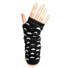 Long Fingerless Gloves With White Hearts - Winter Christmas Gift Idea