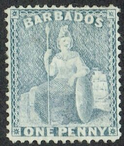 Barbados 1875-81 SG74 1d Grey Blue Very Fine Mounted Mint Cat. £140.00