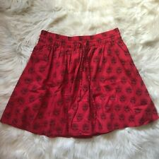Madewell Womens Red Black Floral 100% Cotton Skirt Lined Drawstring Size XS