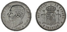 5 Silver Pesetas/Silver Duro. Madrid Alfonso XII 1883. XF