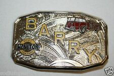 Vintage Mid Century Fire Fighter Uniform BARRY Hose Monitor Belt Buckle RARE