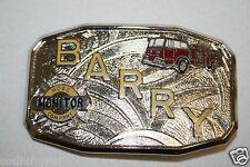 Vintage Mid Century Fire Fighter Uniform BARRY Hose Monitor Belt Buckle RARE