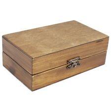 Schatzkiste aus Holz in braun, Holzbox mit Metall-Verschluss und Trenneinsätzen