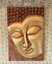 More details for vintage large buddha 3d solid wooden oriental carved wall art plaque hanging