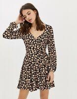 6888 New Free People Pradera Floral Print Wrap Surplice Neckline Dress Small S