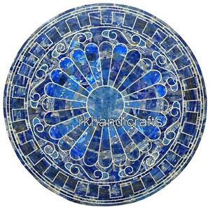 24 Inches Marble Center Table Top Lapis Lazuli Stone Coffee Table Hand Crafted