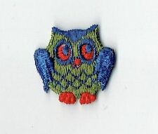 Iron On Embroidered Applique Patch Small Mini Blue Green Barn Owl Bird