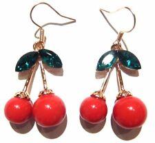 RED CHERRY EARRINGS kitschy retro rockabilly fruits cherry hook pop kawaii 6G