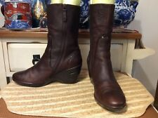 Cole Haan  Air zip up Short Brown Distressed Leather Wedge Heel Boots Sz 7.5 B