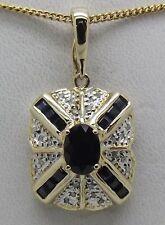 SOLID 14CT YELLOW GOLD NATURAL DIAMOND & SAPPHIRE ENHANCER/PENDANT