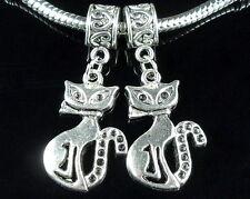 20pcs Tibetan Silver cat Dangle Charms Fit European Bracelet ZY71