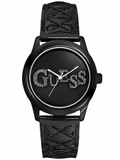 NEW Guess W70040L2 Women's Analog Quilted Watch Analog Black Dial Leather Strap