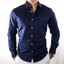 NWT Tommy Hilfiger Men's Stretch Blue Navy Button Front Dress Shirt Size M