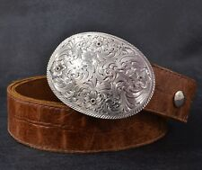 MONTANA SILVERSMITH Floral WESTERN Belt BUCKLE Brown LEATHER Cowboy COWGIRL 38